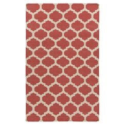 Hackbarth Hand-Woven Wool Red/White Area Rug Rug Size: 3'6