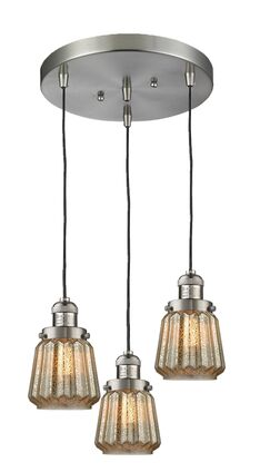 Vinson 3-Light Cluster Pendant Finish: Polished Nickel, Shade Color: Mercury