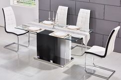 Saffo Modern 5 Piece Dining Set Upholstery Color: White