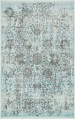 Lonerock European Light Blue Area Rug Rug Size: Rectangle 5'5