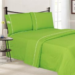 4 Piece Ultra Luxe Wrinkle Free Embossed Pipeline Sheet Set Color: Lime Green, Size: Full