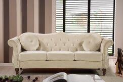 Holder Nailhead Chesterfield Sofa Upholstery: Ivory