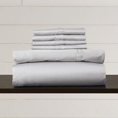 Hiram 600 Thread Count 6-Piece Egyptian Quality Cotton Sateen Deep Pocket Sheet Set Size: Queen, Color: White