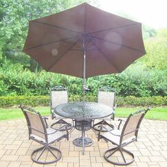 Basile 5 Piece Dining Set Color: Coffee, Umbrella Color: Brown