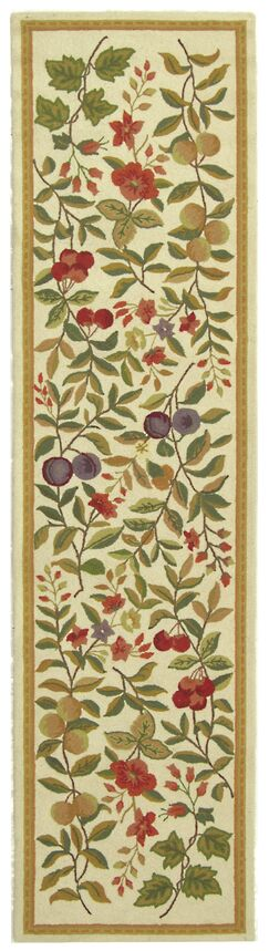 Kinchen Hand-Hooked Wool Ivory/Sage Area Rug Rug Size: Runner 2'6