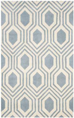 Aula Hand-Tufted Rectangle Blue/Ivory Area Rug Rug Size: Rectangle 4' x 6'