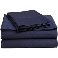 Surratt 500 Thread Count 100% Cotton Sheet Set Color: Navy Blue, Size: Queen