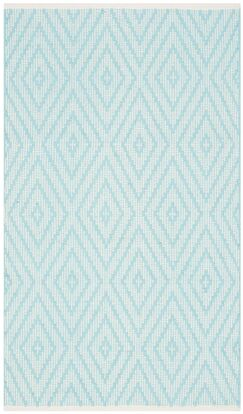 Aime Hand-Woven Turquoise/Ivory Area Rug Rug Size: Runner 2'3
