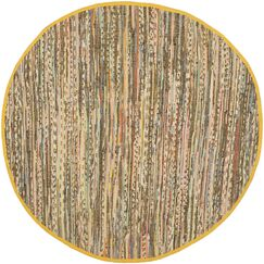 Kellerman Contemporary Hand-Woven Cotton Yellow Area Rug Rug Size: Round 4'