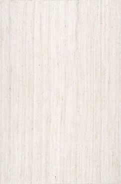 Burrillville Hand-Woven White Area Rug Rug Size: Round 8'