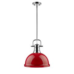 Bodalla 1-Light Dome Pendant Finish: Chrome with Red Shade