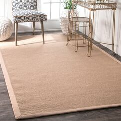 Yasmine Cotton Border Sand Area Rug Rug Size: Rectangle 8' x 10'