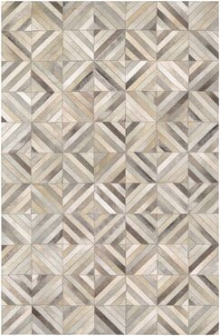 Easthampton Hand-Woven Ivory Cowhide Leather Area Rug Rug Size: Rectangle 9'4