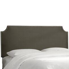 Alamak Velvet Notched Nail Button Upholstered Panel Headboard Upholstery: Velvet Pewter, Size: Queen