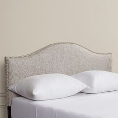Aubuchon Nail Button Upholstered Panel Headboard Upholstery: Groupie Pewter, Size: Queen