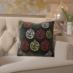 Decorative Holiday Geometric Print Throw Pillow Color: Black, Size: 26