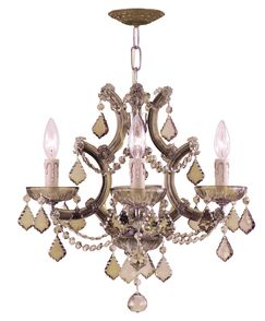 Milan 4-Light Candle Style Chandelier Crystal Type: Golden Teak Polished