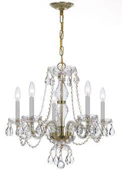 Milan 5-Light Chandelier Crystal Type/Finish: Swarovski Spectra/Polished Brass