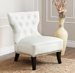 Taya Slipper Chair Upholstery: Ivory