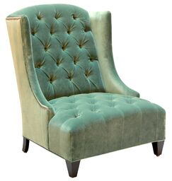 Ryegate Linen and Euro Burlap Wingback Chair Body Fabric: Banks Jade