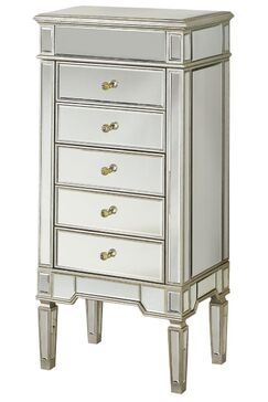 Ake Jewelry Armoire with Mirror Color: Silver