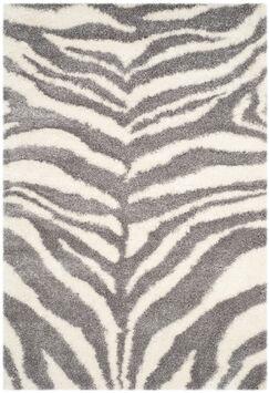 Laplaigne Shag Ivory/Gray Area Rug Rug Size: Rectangle 5'1