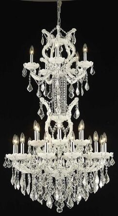 Regina 25-Light Candle Style Chandelier Finish / Crystal Finish / Crystal Trim: White / Crystal (Clear) / Elegant Cut