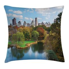 New York Central Park Autumn Square Pillow Cover Size: 18