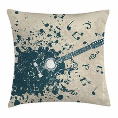 Guitar Notes Square Pillow Cover Size: 24