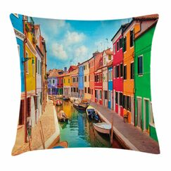 Buildings Boats Square Pillow Cover Size: 18