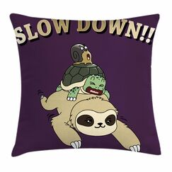 Sloth Funny Cartoon Scenery Square Pillow Cover Size: 18