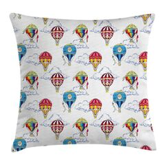 Clouds Hot Air Balloons Square Pillow Cover Size: 24