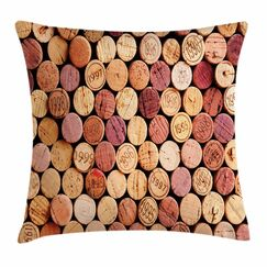 Wine Random Used Wine Corks Square Pillow Cover Size: 24