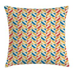 Diagonally Striped Squares Cushion Pillow Cover Size: 18