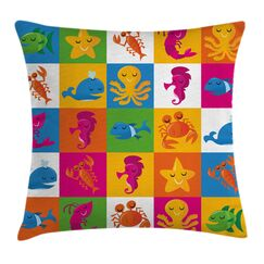 Sea Octopus Crab Whale Cushion Pillow Cover Size: 20