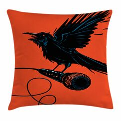 Raven with Microphone Square Cushion Pillow Cover Size: 24