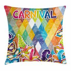 Mardi Gras Joyful Celebration Square Cushion Pillow Cover Size: 20