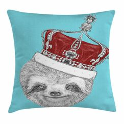 Sloth with Imperial Crown Square Pillow Cover Size: 24