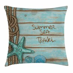 Starfish Decor Summer Travel Square Pillow Cover Size: 16