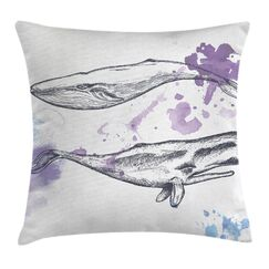 Whale Grunge Mammals Murky Art Square Pillow Cover Size: 16