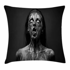 Zombie Decor Screaming Woman Square Pillow Cover Size: 18