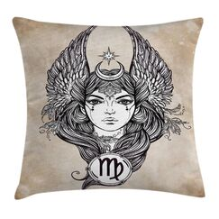 Hand Drawn Astrological Square Pillow Cover Size: 20