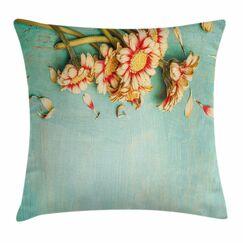 Shabby Elegance Decor Gerbera Bunch Square Pillow Cover Size: 16