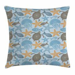 Starfish Decor Ethnic Motifs Square Pillow Cover Size: 24