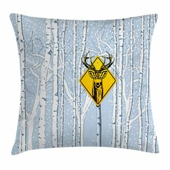 Attention Deer Square Pillow Cover Size: 18