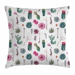 Cactus Spring in Hawaii Square Pillow Cover Size: 24