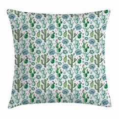 Cactus Decor Exotic Collection Square Pillow Cover Size: 18