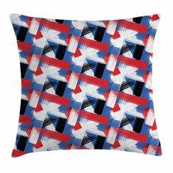 Geometric Grunge Motif Square Pillow Cover Size: 24