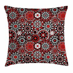 Geometrical Flowers Square Pillow Cover Size: 20