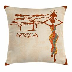 African Woman Slim Vintage Girl Square Pillow Cover Size: 24